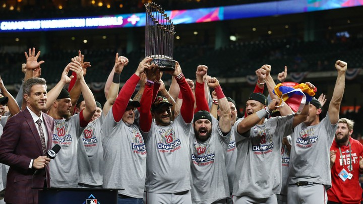 The Washington Nationals after winning the 2019 World Series Championship in Houston, TX
