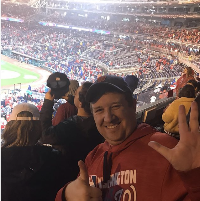 Richard at the 2020 Game 7 watch party at Nationals Park